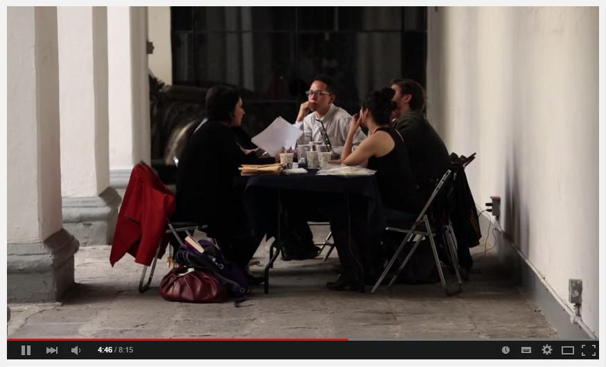 Instantánea de una de las sesiones de taller con Cristina Rascón y mis compañeros becarios, en la ciudad de Puebla, México.